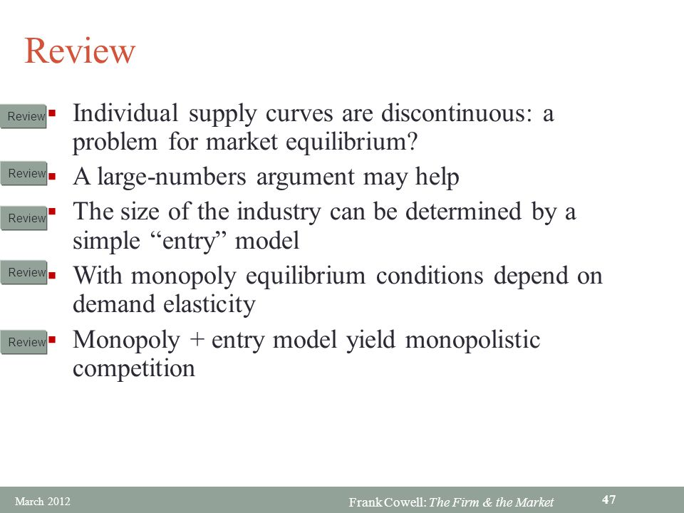 Review Individual supply curves are discontinuous: a problem for market equilibrium A large-numbers argument may help.