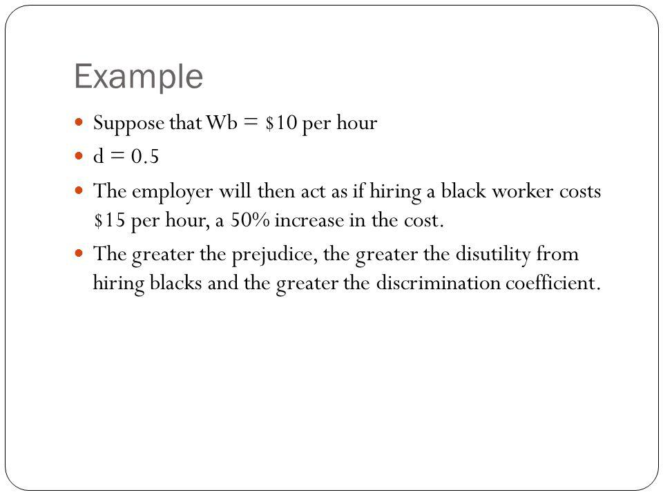 Example Suppose that Wb = $10 per hour d = 0.5