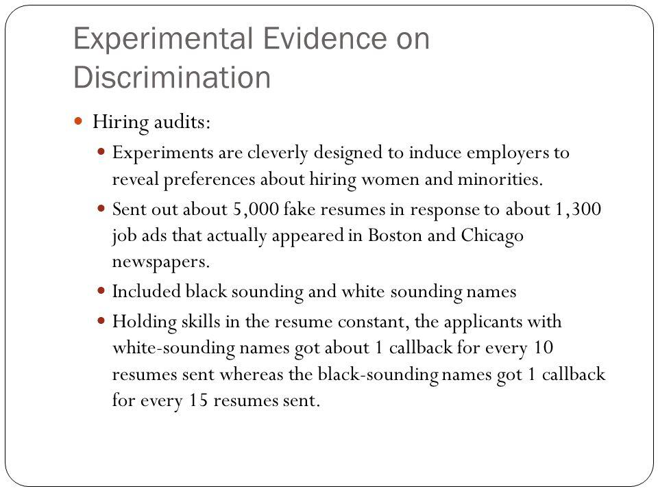 Experimental Evidence on Discrimination