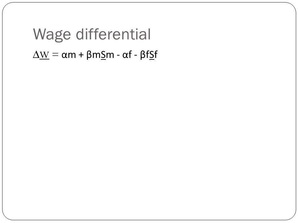 Wage differential ∆W = αm + βmSm - αf - βfSf