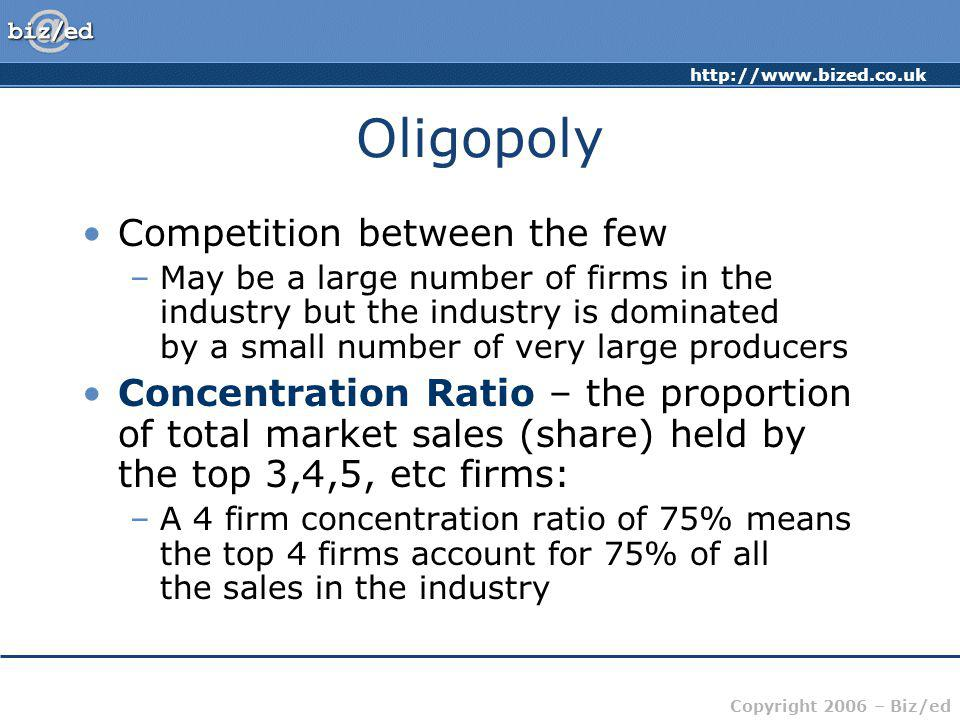 Oligopoly Competition between the few