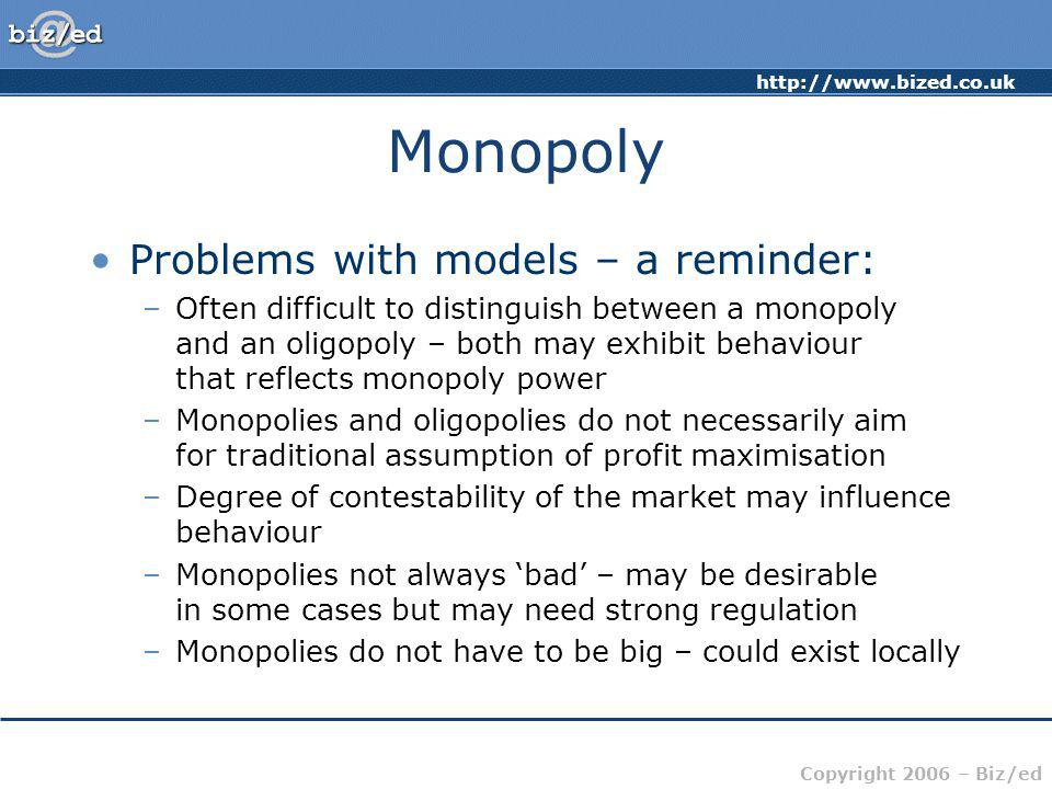 Monopoly Problems with models – a reminder:
