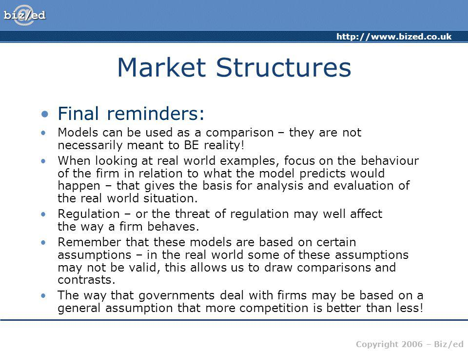 Market Structures Final reminders:
