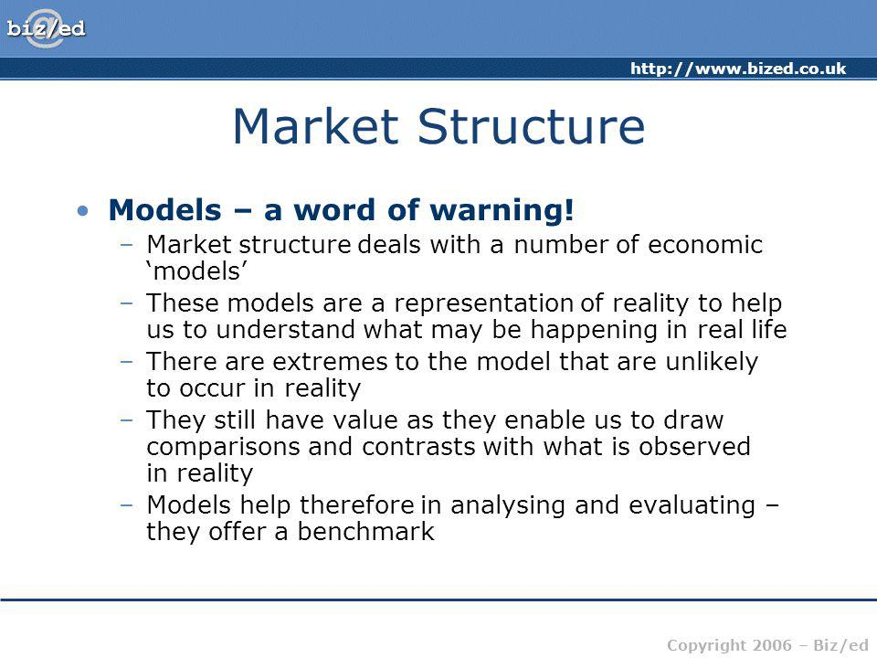 Market Structure Models – a word of warning!