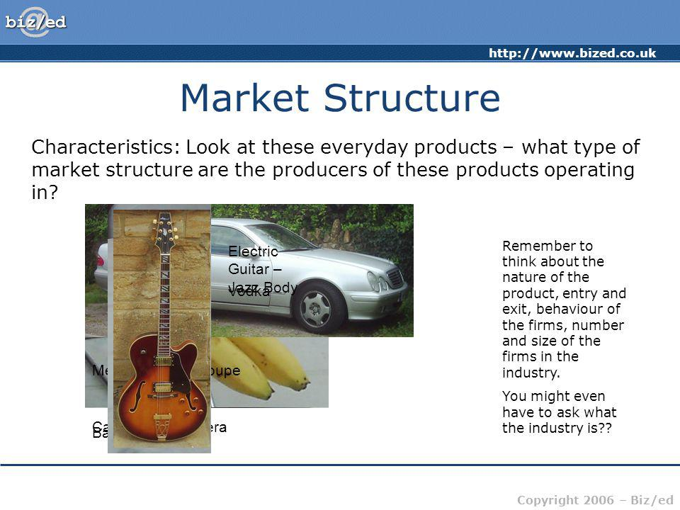 Market Structure Characteristics: Look at these everyday products – what type of market structure are the producers of these products operating in