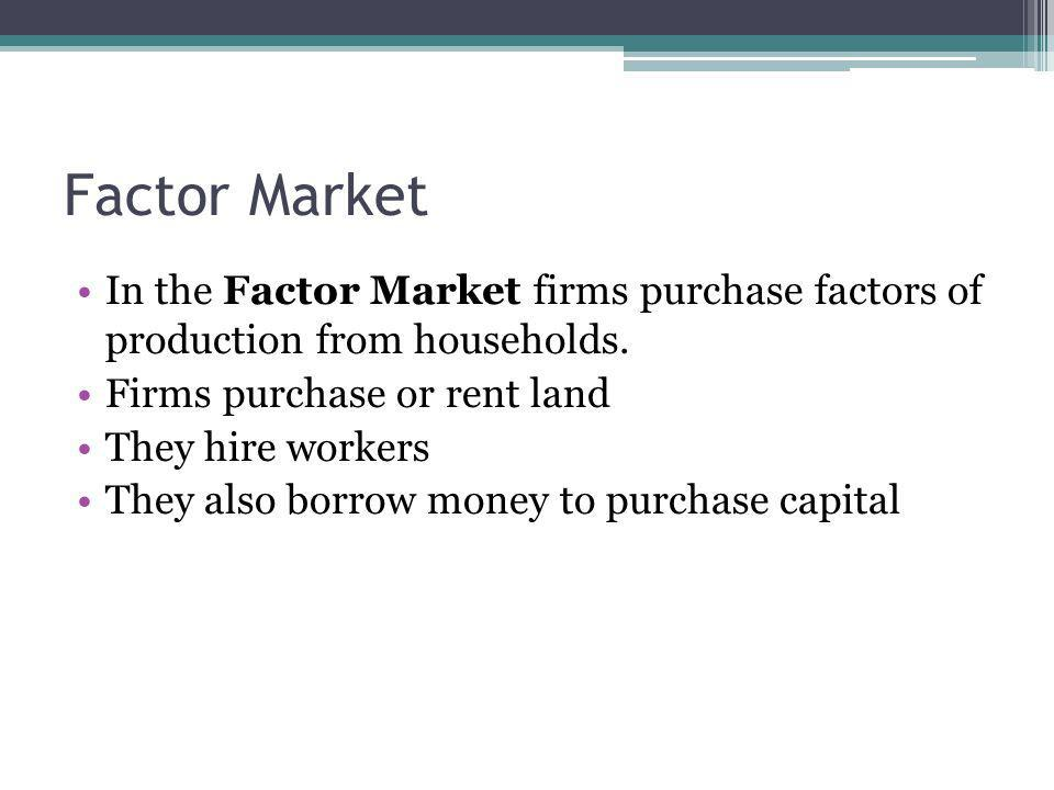 Factor Market In the Factor Market firms purchase factors of production from households. Firms purchase or rent land.
