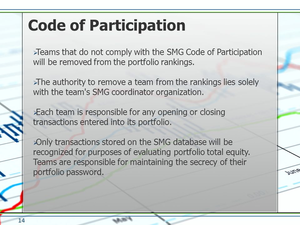 Code of Participation Teams that do not comply with the SMG Code of Participation will be removed from the portfolio rankings.