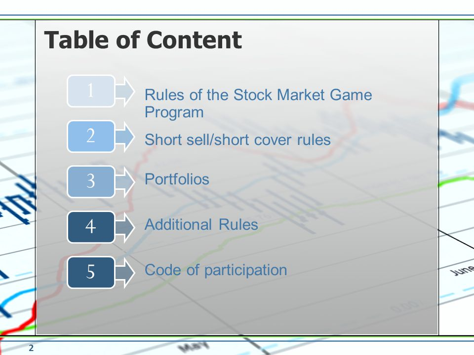 Table of Content 1 2 3 4 5 Rules of the Stock Market Game Program