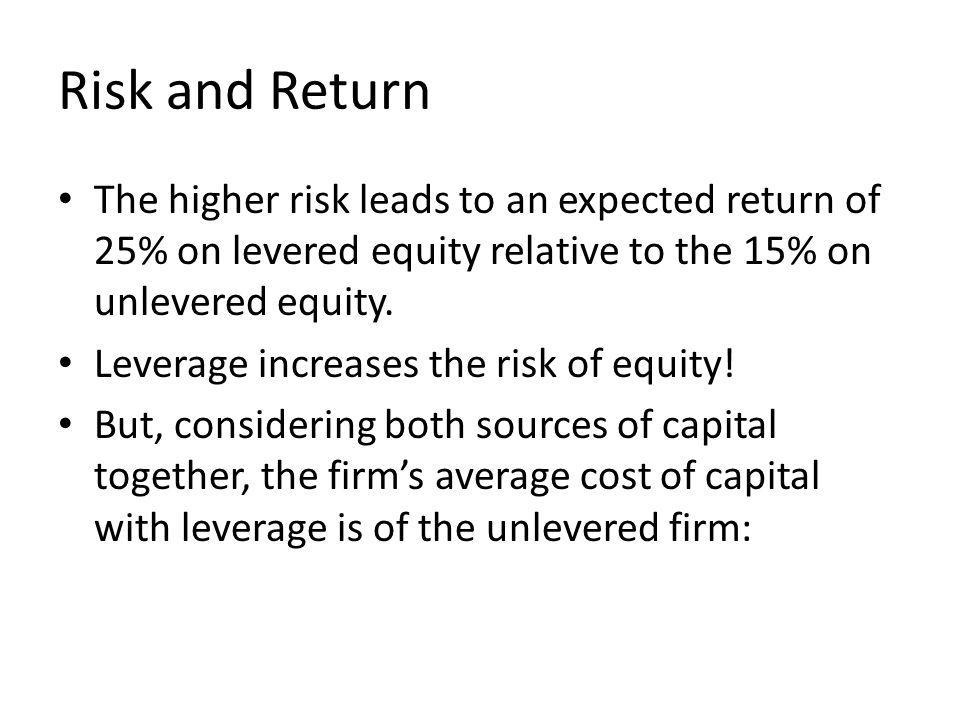 Risk and Return The higher risk leads to an expected return of 25% on levered equity relative to the 15% on unlevered equity.