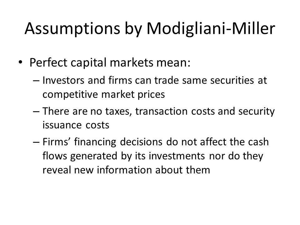 Assumptions by Modigliani-Miller
