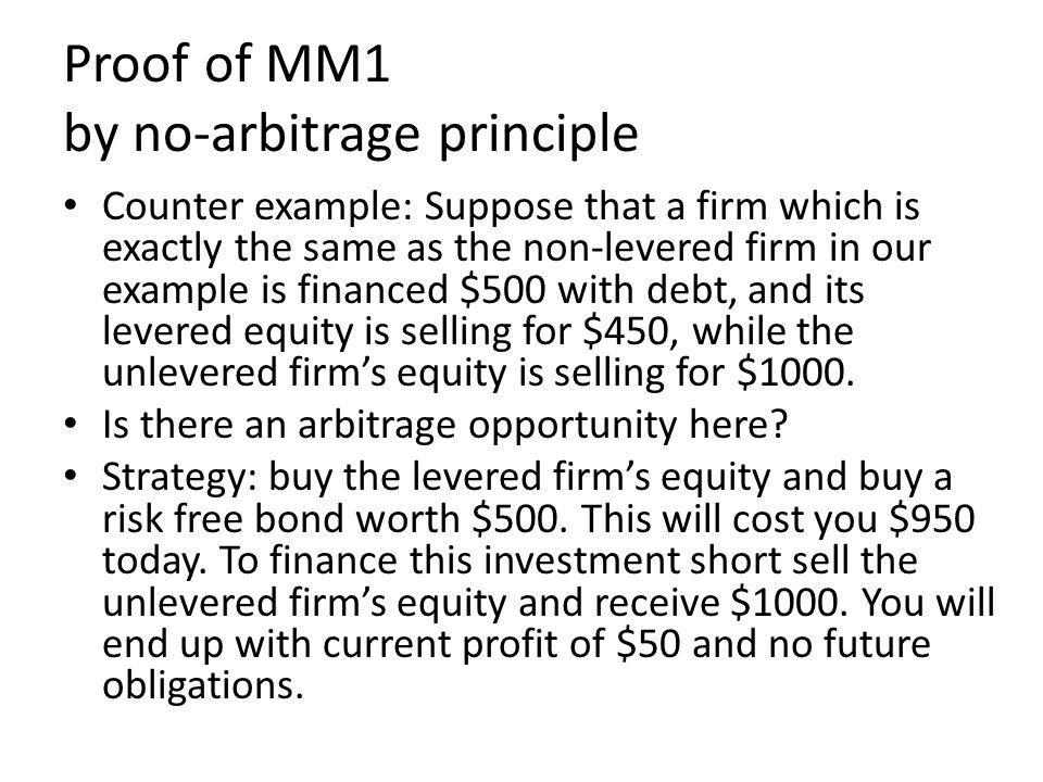 Proof of MM1 by no-arbitrage principle