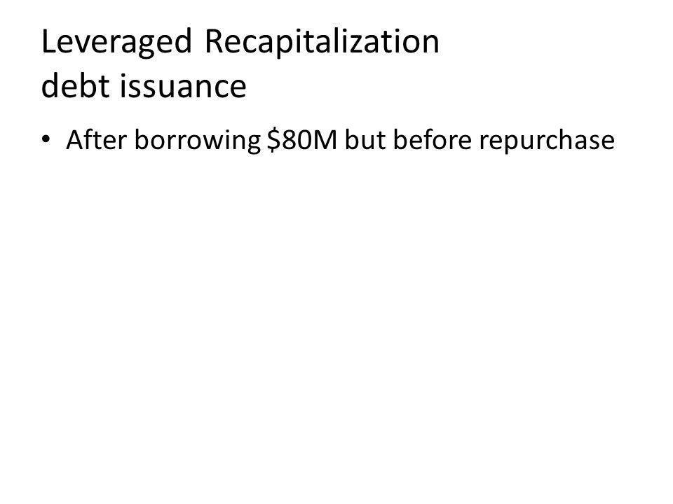Leveraged Recapitalization debt issuance