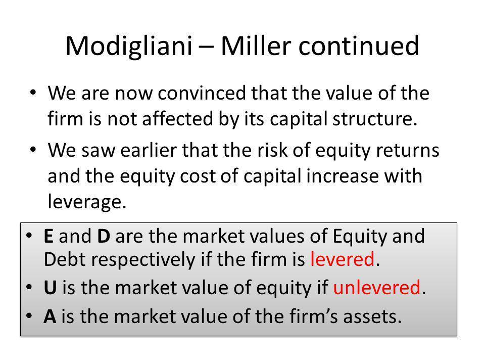 Modigliani – Miller continued