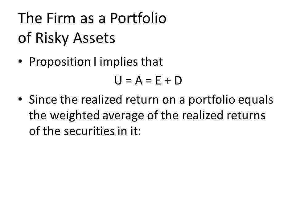 The Firm as a Portfolio of Risky Assets