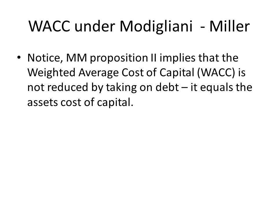 WACC under Modigliani - Miller