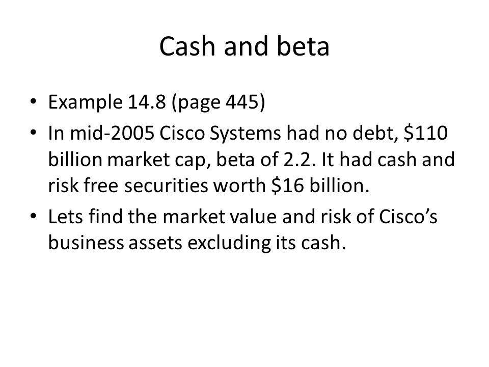 Cash and beta Example 14.8 (page 445)