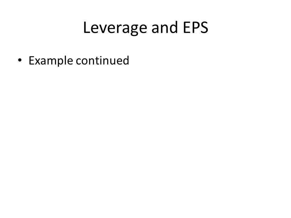 Leverage and EPS Example continued