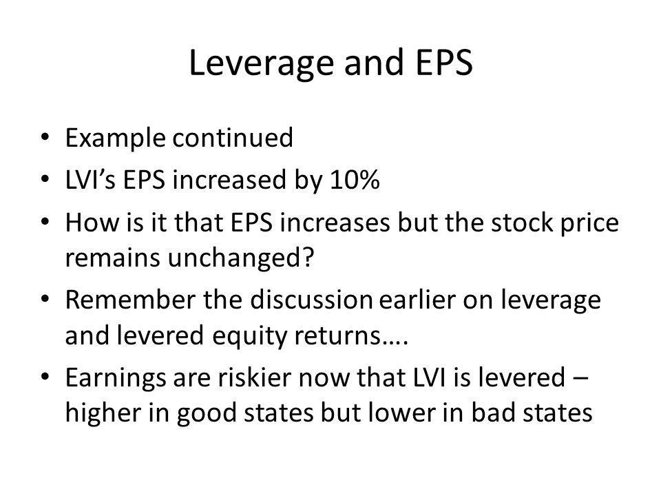 Leverage and EPS Example continued LVI's EPS increased by 10%