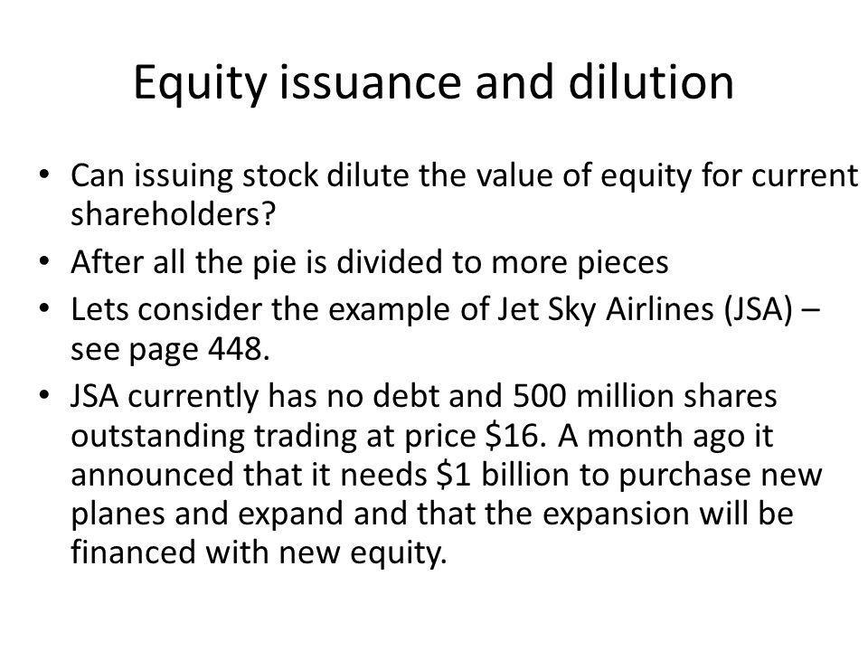 Equity issuance and dilution