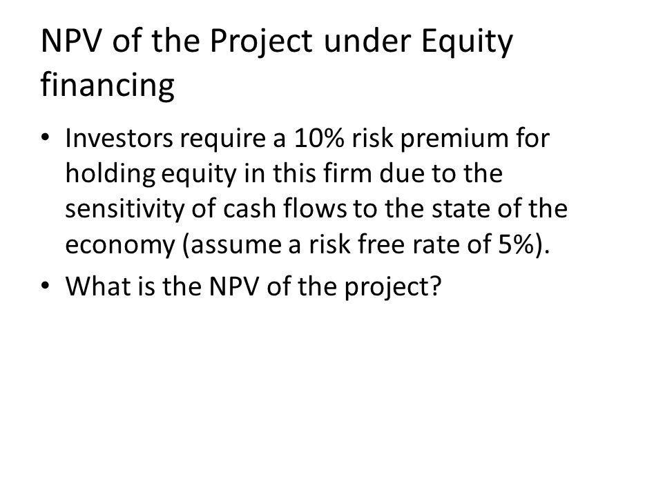 NPV of the Project under Equity financing