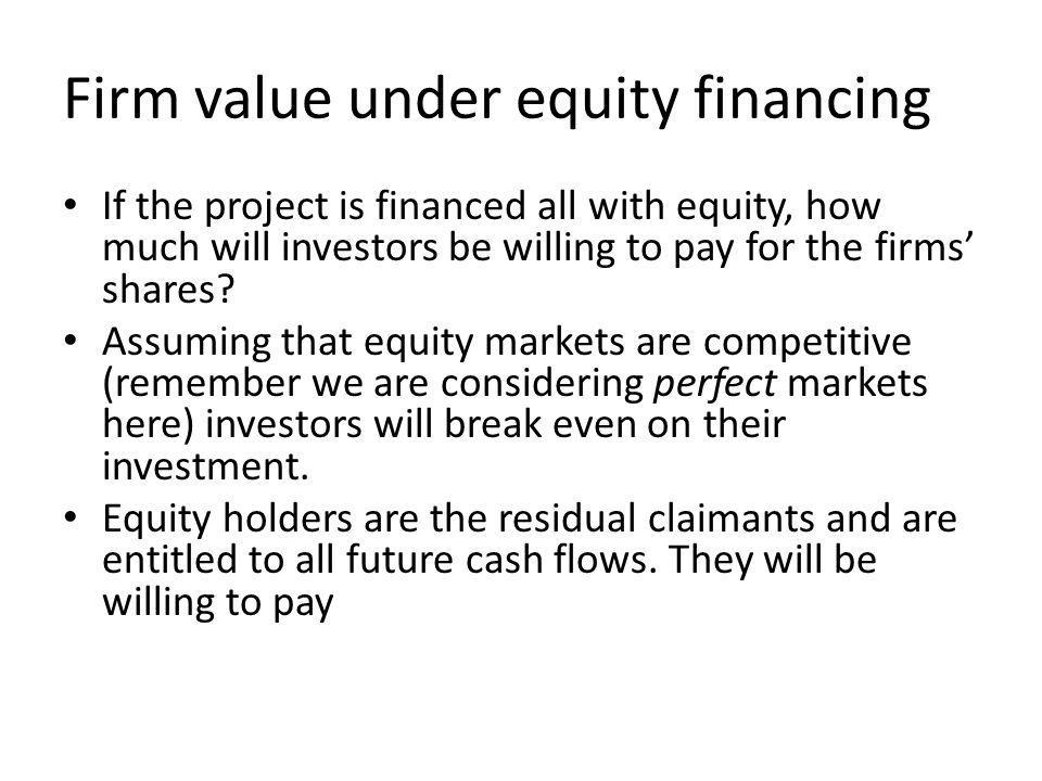 Firm value under equity financing