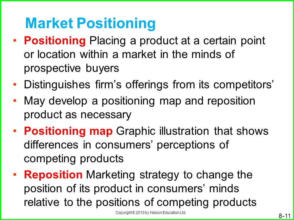 Market Positioning Positioning Placing a product at a certain point or location within a market in the minds of prospective buyers.