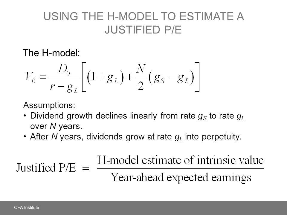 Using the H-Model to Estimate a Justified P/E