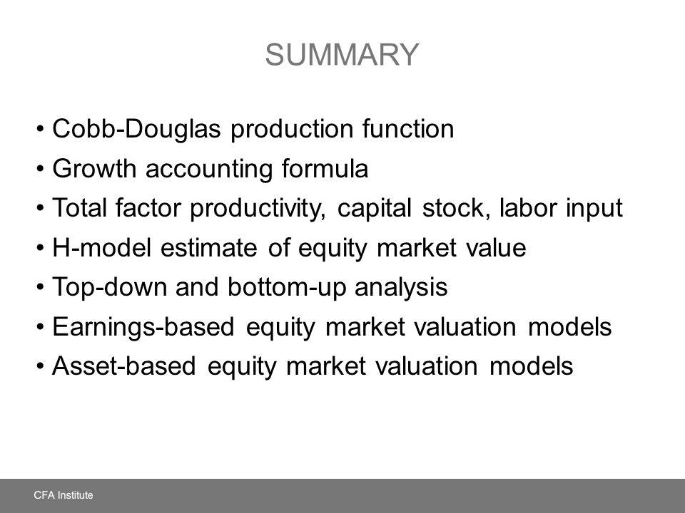 Summary Cobb-Douglas production function Growth accounting formula
