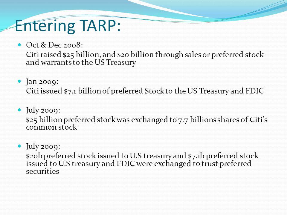 Entering TARP: Oct & Dec 2008: