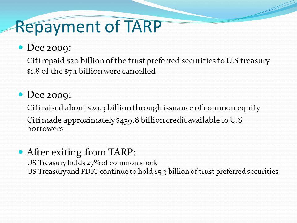 Repayment of TARP Dec 2009: Citi repaid $20 billion of the trust preferred securities to U.S treasury.
