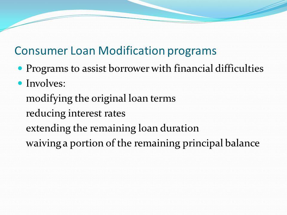 Consumer Loan Modification programs