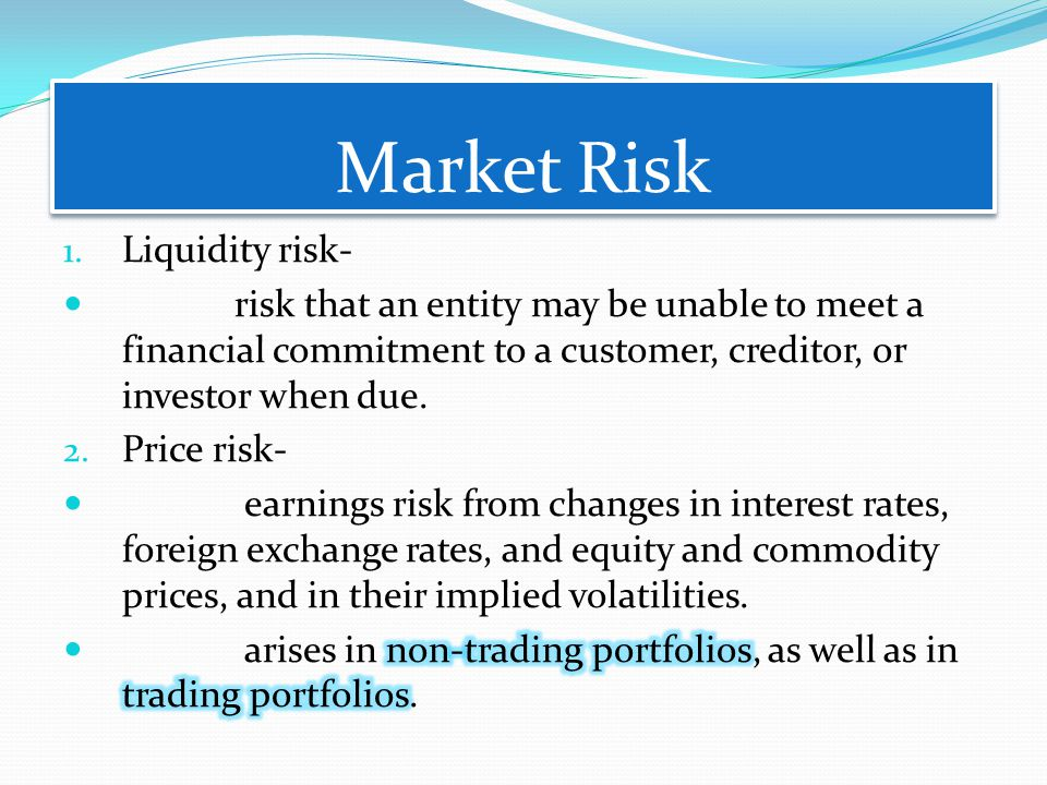 Market Risk Liquidity risk-