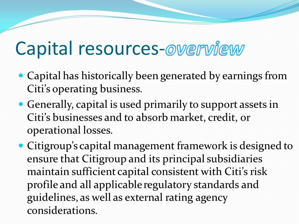 Capital resources-overview