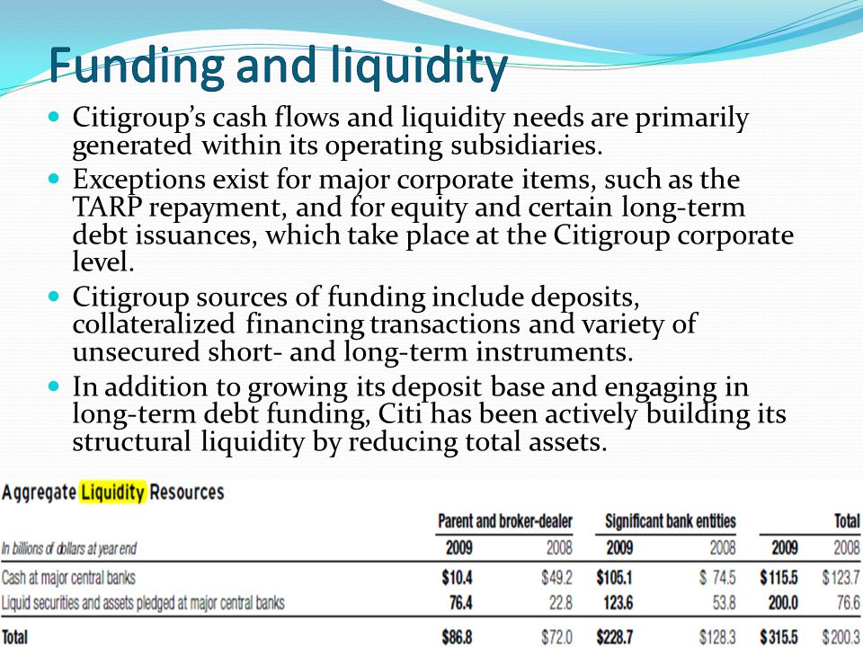 Funding and liquidity Citigroup's cash flows and liquidity needs are primarily generated within its operating subsidiaries.