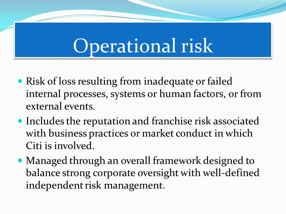 Operational risk Risk of loss resulting from inadequate or failed internal processes, systems or human factors, or from external events.