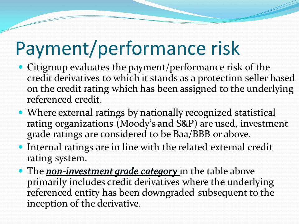 Payment/performance risk