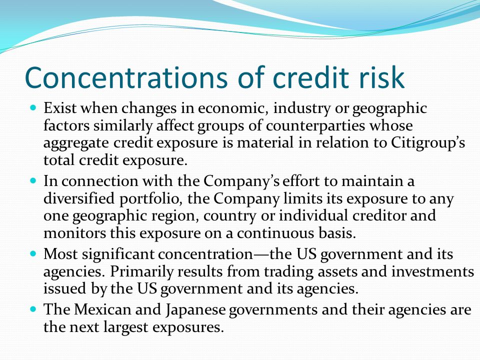 Concentrations of credit risk