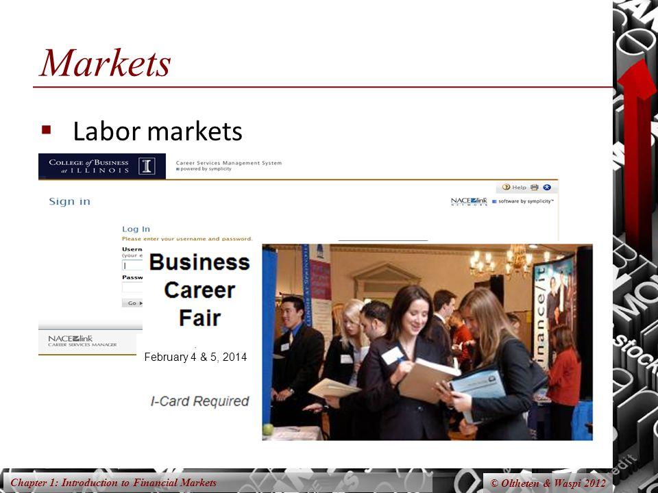 Markets Labor markets . February 4 & 5, 2014