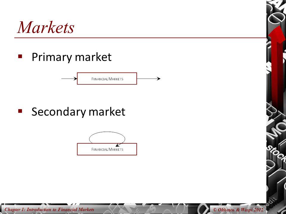 Markets Primary market Secondary market
