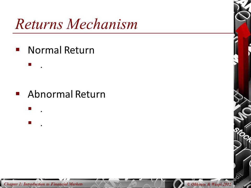 Returns Mechanism Normal Return . Abnormal Return