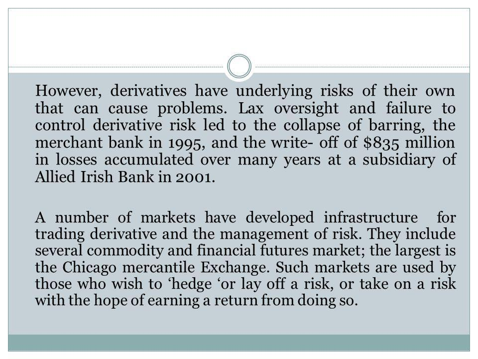 However, derivatives have underlying risks of their own that can cause problems. Lax oversight and failure to control derivative risk led to the collapse of barring, the merchant bank in 1995, and the write- off of $835 million in losses accumulated over many years at a subsidiary of Allied Irish Bank in 2001.