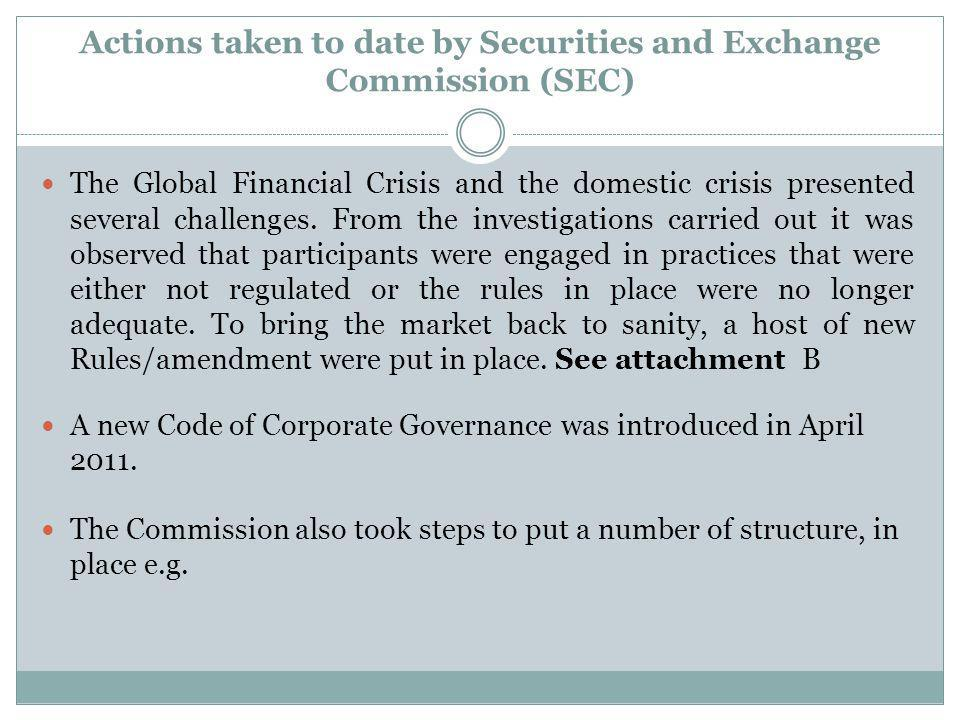 Actions taken to date by Securities and Exchange Commission (SEC)