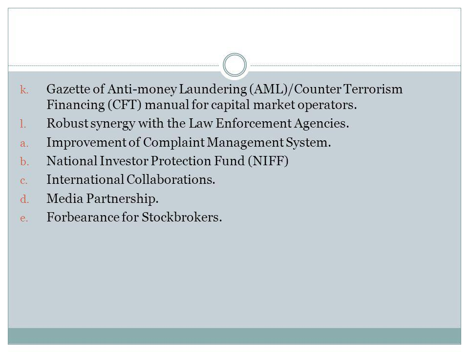 Gazette of Anti-money Laundering (AML)/Counter Terrorism Financing (CFT) manual for capital market operators.