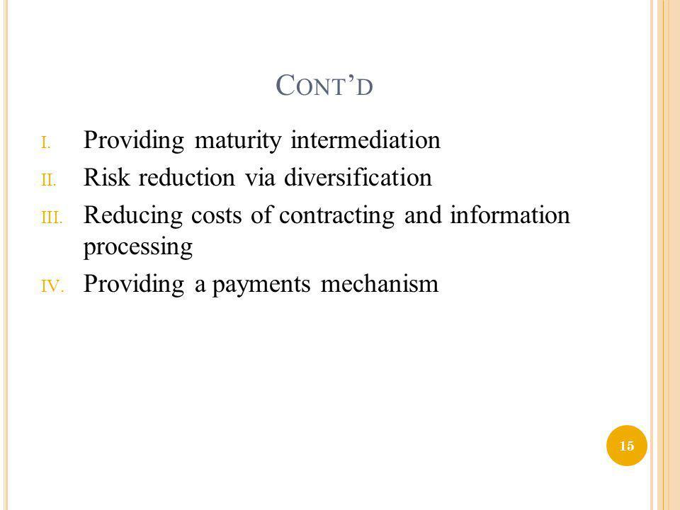 Cont'd Providing maturity intermediation