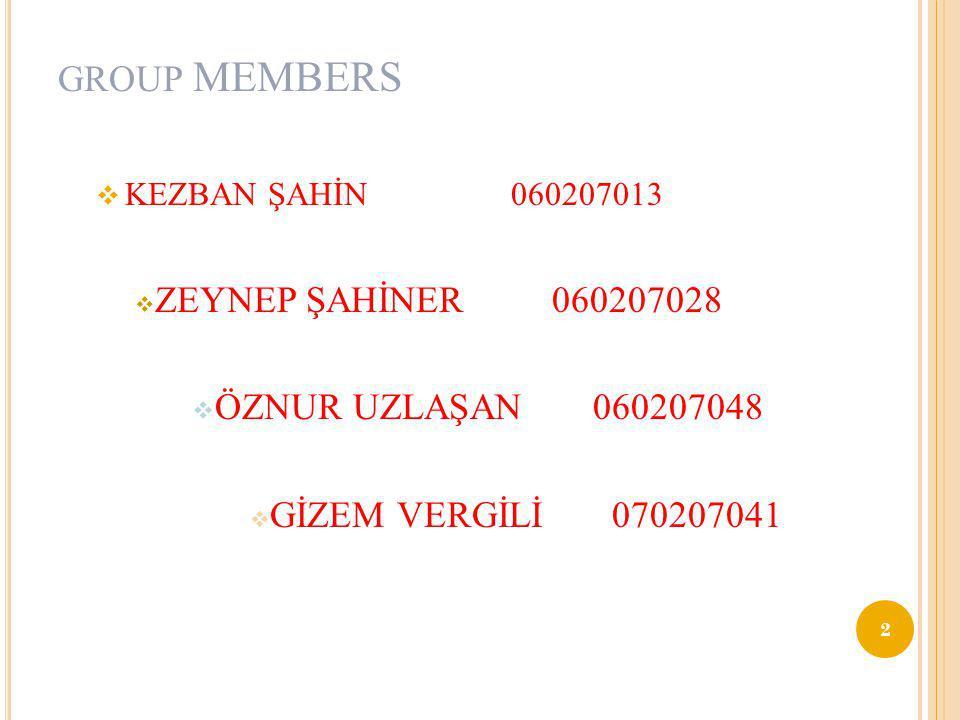 GROUP MEMBERS ZEYNEP ŞAHİNER 060207028 ÖZNUR UZLAŞAN 060207048