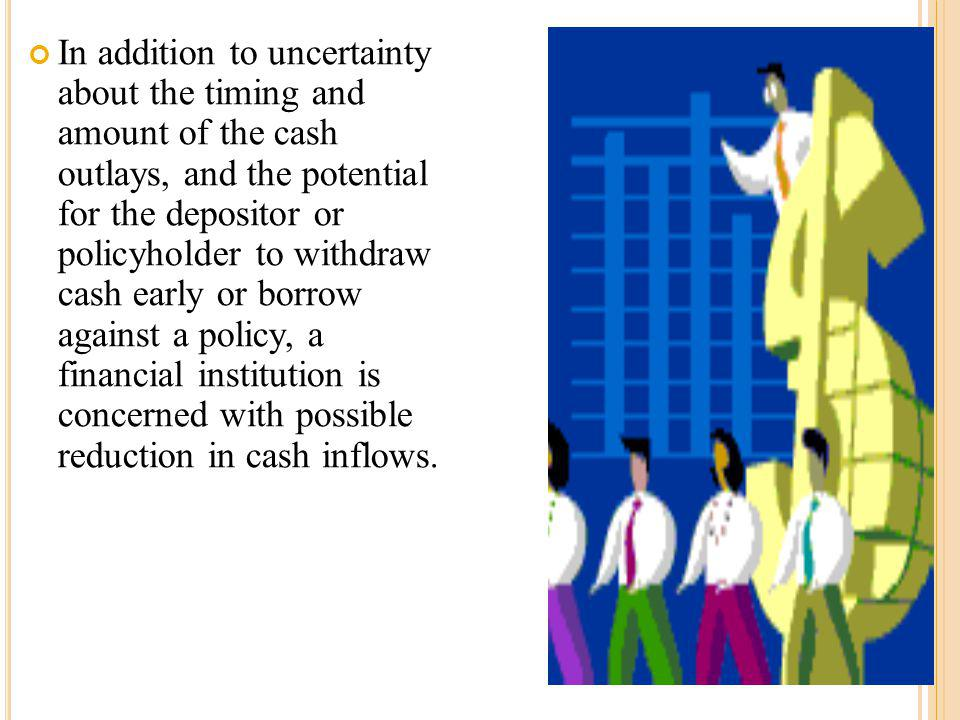 In addition to uncertainty about the timing and amount of the cash outlays, and the potential for the depositor or policyholder to withdraw cash early or borrow against a policy, a financial institution is concerned with possible reduction in cash inflows.