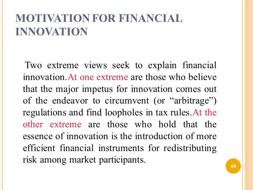 MOTIVATION FOR FINANCIAL INNOVATION