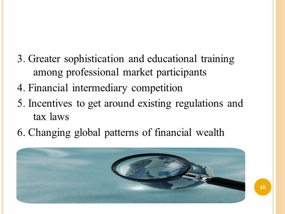 3. Greater sophistication and educational training among professional market participants 4.