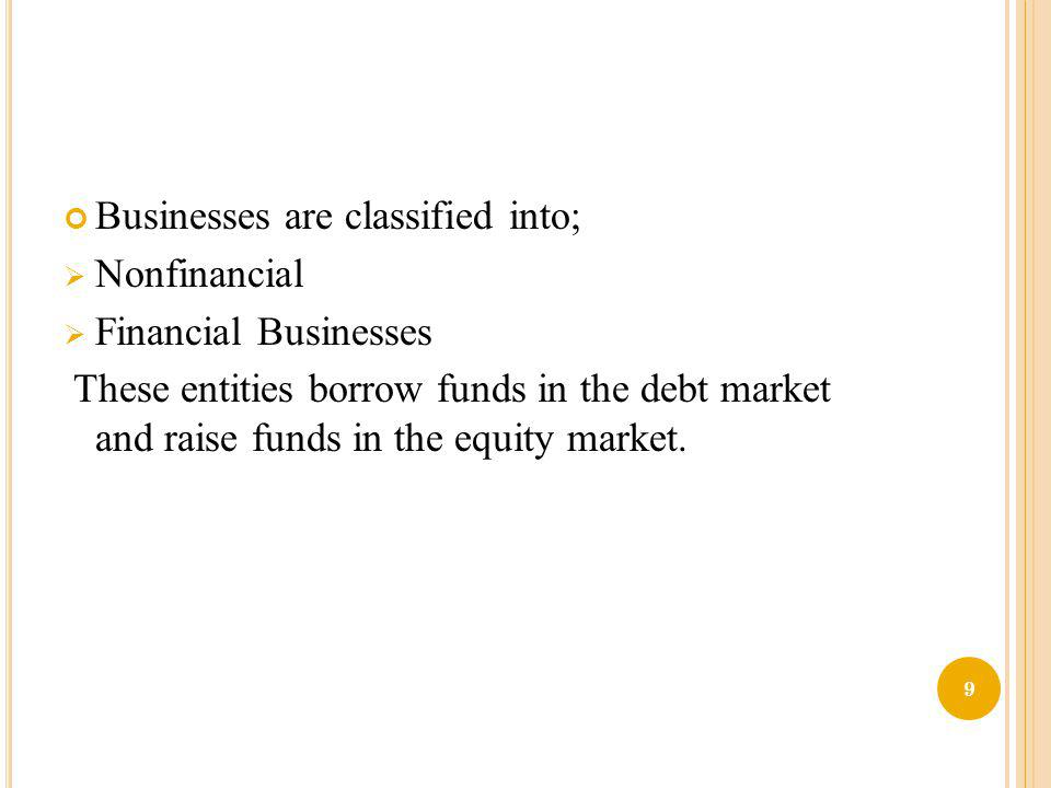 Businesses are classified into;