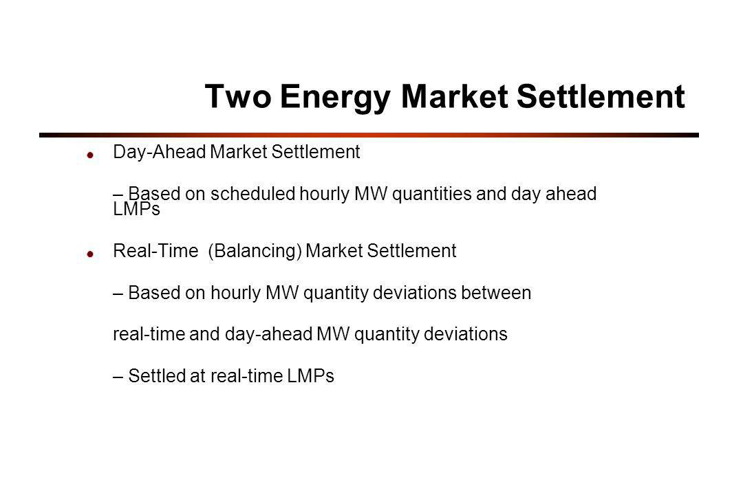 Two Energy Market Settlement